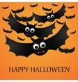 Halloween orange background with flying bats vector image