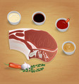raw organic pork chop with herbs and sauces on vector image
