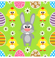 seamless easter background with rabbit and chicke vector image