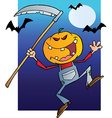 Halloween Pumpkin Head Jack With A Scythe And Bats vector image vector image
