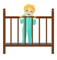 Baby stays in grib vector image