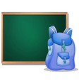 A bag in front of the empty blackboard vector image vector image