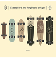 Skateboard and longboard design vector image