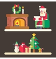 Santa claus reading mail list new year accessories vector image