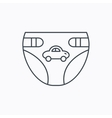 Diaper with car icon Child underwear sign vector image