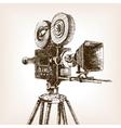 Old cinema camera sketch style vector image