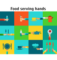 Set with serving food hands vector image