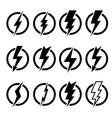 Set of black lightning bolts and signs vector image