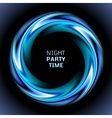 Abstract blue swirl circle on black background vector image