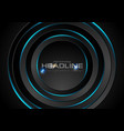 Black circles with blue neon light background vector image
