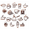 Coffee and tea cups set icons collection vector image