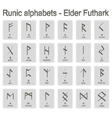 Set of monochrome icons with runic alphabets vector image