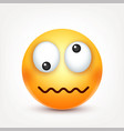 smileycrazy emoticon yellow face with emotions vector image