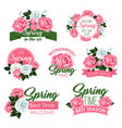 spring holidays flowers icon with rose and peony vector image