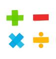 plus minus multiply divide mathematical symbols vector image vector image