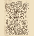 Mystic drawing with spiritual tree vector image