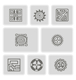 set of monochrome icons with American Indians art vector image
