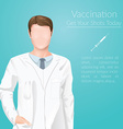 Vaccination face less man doctor in a medic vector image