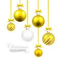 Christmas balls with yellow ribbon and bows vector image