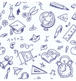 Creative seamless school pattern with pen drawings vector image