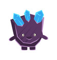 cute smiling purple stone with blue crystals vector image