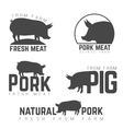 Set of pork emblems logotypes and labels isolated vector image