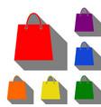 Shopping bag set of red orange vector image