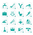 stylized plumbing objects and tools icons vector image