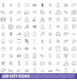 100 city icons set outline style vector image