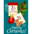 Christmas poster with calendar and holly berries vector image