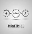 Three health symbols in the chrome circles vector image