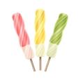 Set of Yellow Pink Green Spiral Ice Cream on Stick vector image