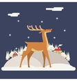 Deer Rudolph Winter Snow Countryside Landscape vector image