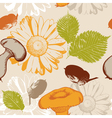 autumn seamless pattern with leaves and flowers vector image vector image