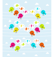 Birds with text Happy birthday vector image vector image