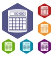 An electronic calculator icons set vector image