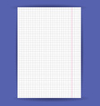 Checkered notebook paper on blue background vector image