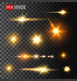 gold light flash or star shine light icons vector image
