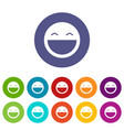 laughing emoticon set icons vector image