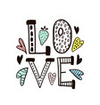 love word isolatedhand drawn with vector image