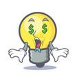 money eye light bulb character cartoon vector image