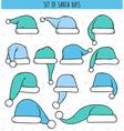Set of 12 blue doodle hats Santa Claus vector image