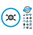 Tire Service Flat Icon with Bonus vector image