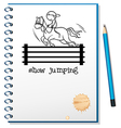 A notebook with a sketch of a boy riding a horse vector image vector image