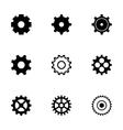 black gear icons set vector image