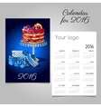 Calendar 2016 with picture of fruit cake and gift vector image