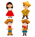set of isolated children of Mexican and cowboy vector image