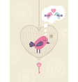 Love cage with lonely bird vector image