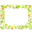 Frame from abstract leaves flowers and butterflies vector image