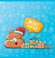 funny cartoon cool cute brown smiling poo vector image